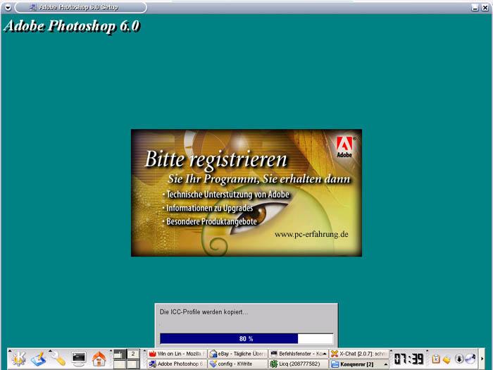 Kurios installation von adobe photoshop 6 0 auf einer linux plattform
