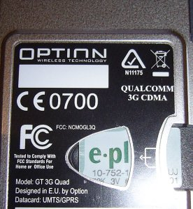 Option Qualcomm GT 3G Quad mit PCMCIA-Card