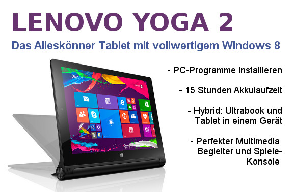 lenovo yoga 2 tablet pc mit vollwertigem windows 8. Black Bedroom Furniture Sets. Home Design Ideas